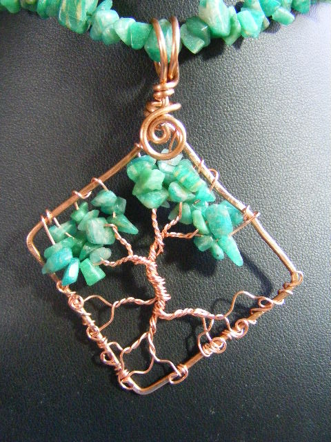 Amazonite chip leaves with copper bark in copper diamond