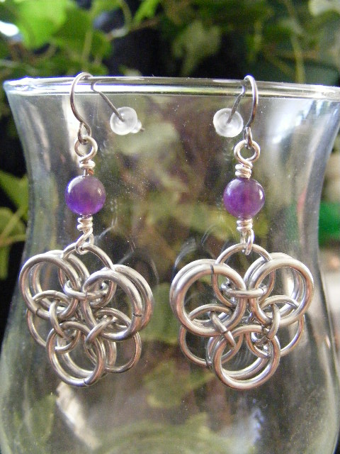Amethyst Helm Flower Earrings