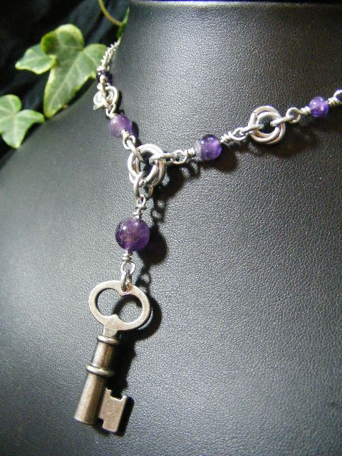 Amethyst Mobius Key Necklace