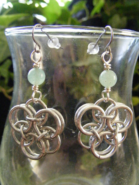 Aventurine Helm Flower Earrings
