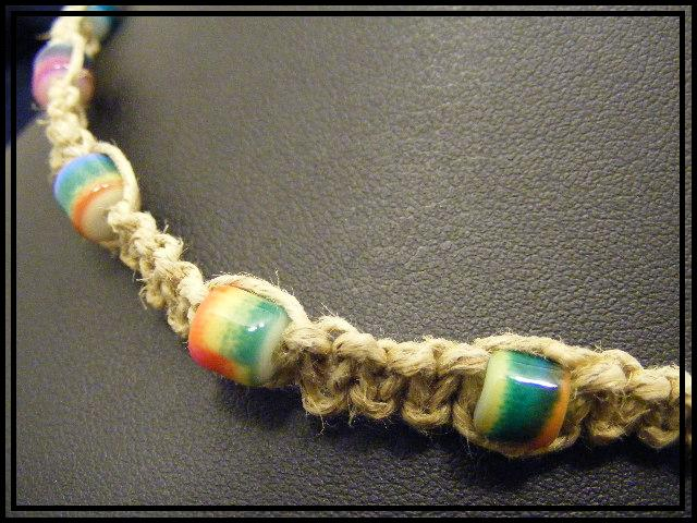 multi color glass beads on hemp