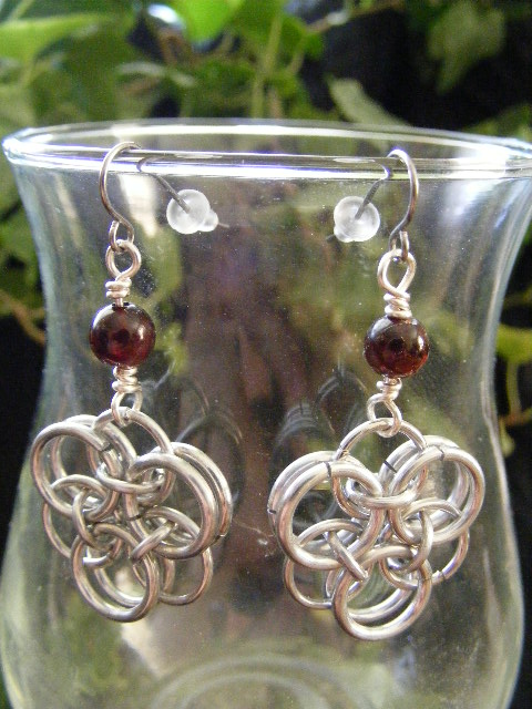 Garnet Helm Flower Earrings
