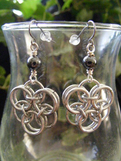 Hematite Helm Flower Earrings