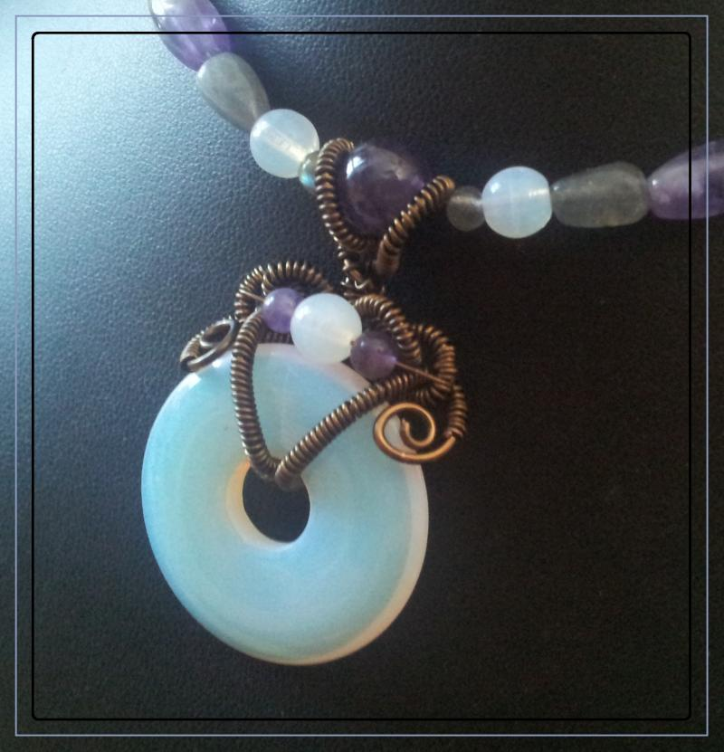 Opalite, amethyst, and labradorite necklace