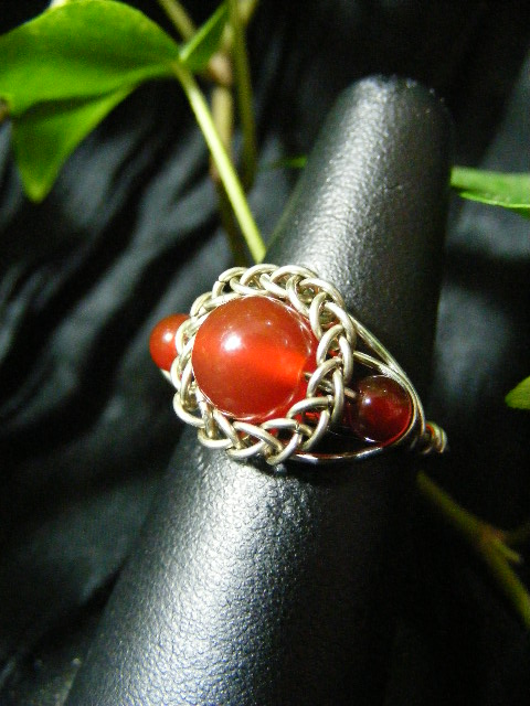 Persian bezel ring with accent beads  carnelian and silver