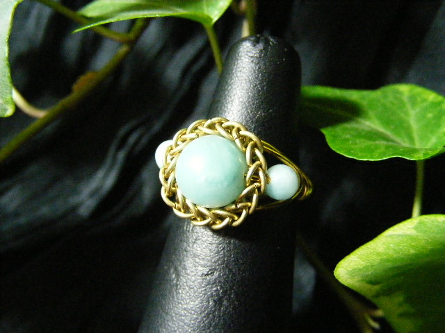 Persian bezel ring with accent beads in amazonite and brass