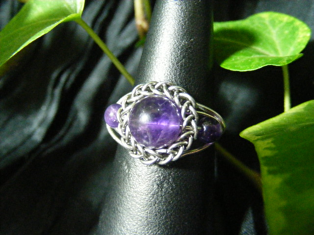 Persian bezel ring with accent beads in amethyst and silver