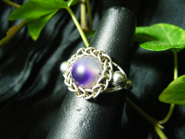Persian bezel ring with accent beads in purple agate and silver