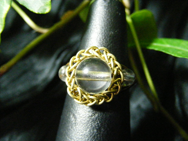 Persian bezel ring with accent beads in quartz and brass
