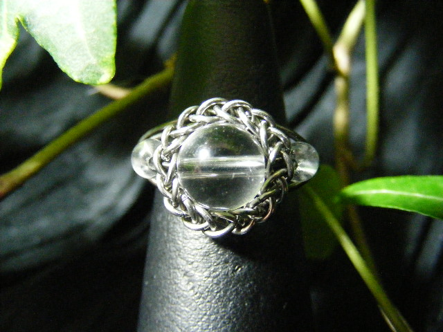 Persian bezel ring with accent beads in quartz and silver