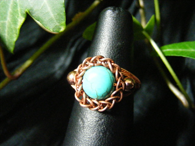 Persian bezel ring with accent beads in turquoise and copper