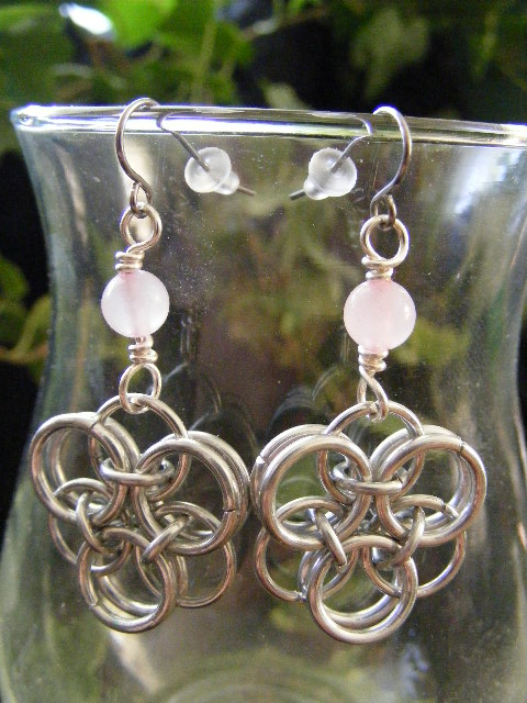 Rose quartz Helm Flower Earrings