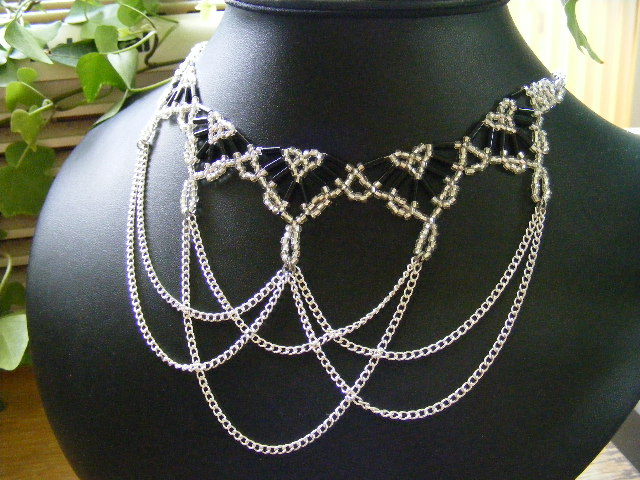Silver and black princess necklace