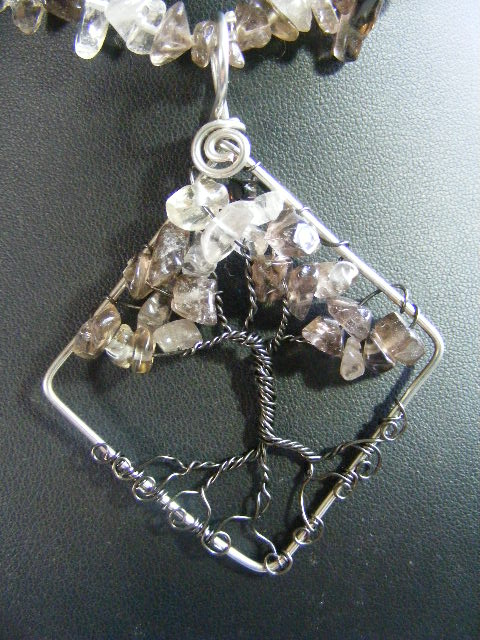 Smokey Quartz chip leaves with gunmetal bark in silver diamond