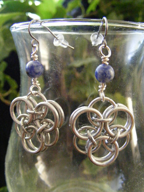 Sodalite Helm Flower Earrings