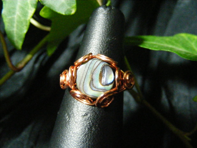 Spiral Nest Ring in abalone shell and copper