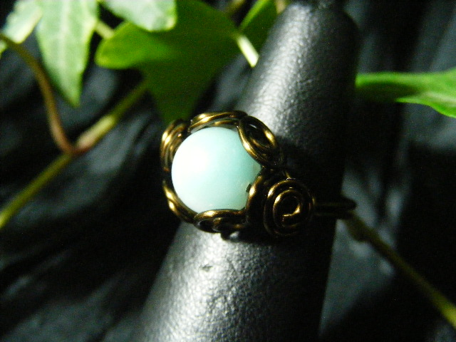 Spiral Nest Ring in amazonite and bronze
