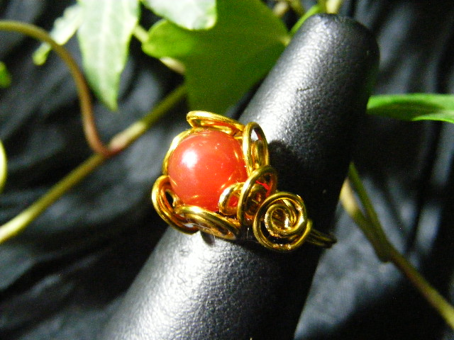 Spiral Nest Ring in carnelian and brass