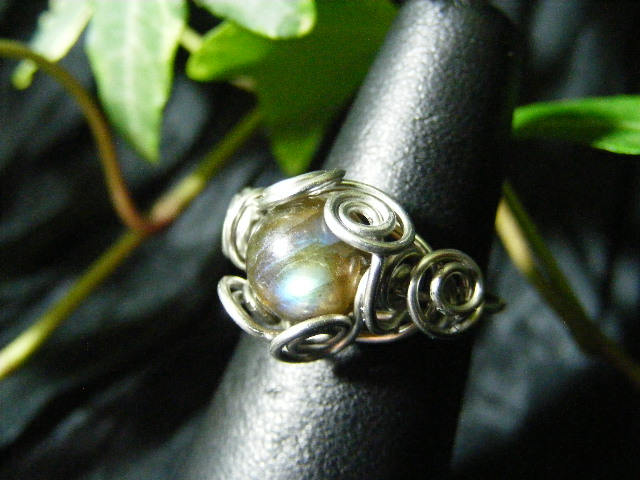Spiral Nest Ring in labradorite and silver