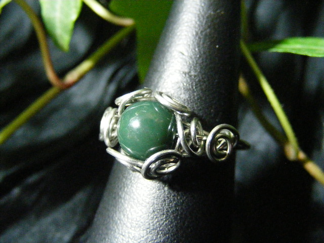 Spiral Nest Ring in moss agate and silver