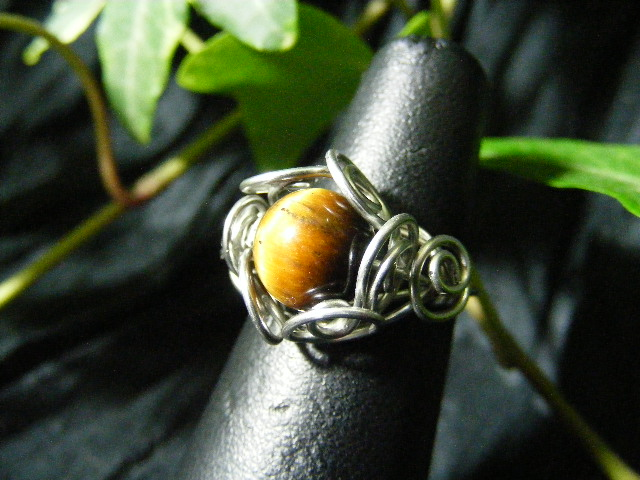 Spiral Nest Ring in tigers eye and silver