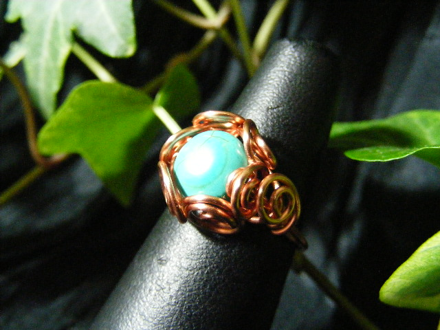 Spiral Nest Ring  in turquoise and copper