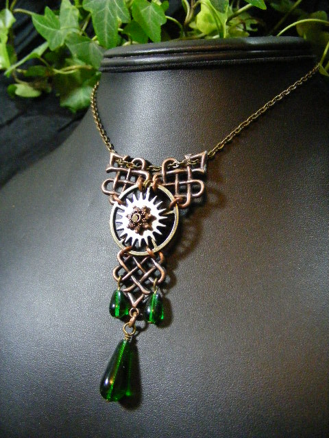articulated gears celtic necklace green and copper