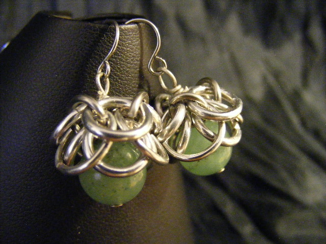 aventurine helmcap earrings