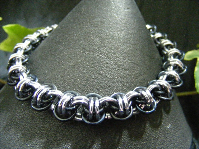 barrel weave bracelet silver and hematite