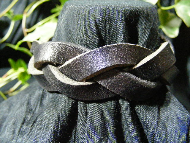 black leather mystery braid bracelet