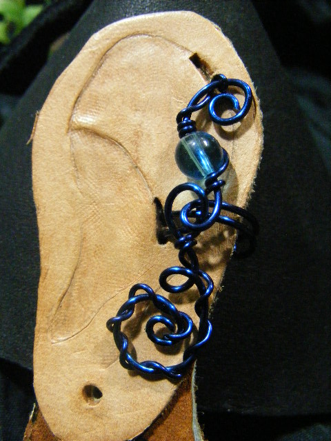 blue and blue glass ear cuff 2
