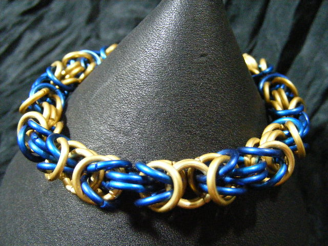blue and brass aluminum byzantine bracelet