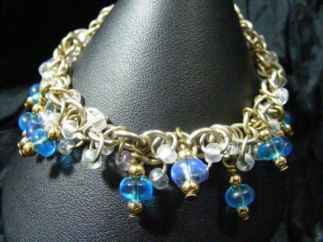 blue glass shaggy loops bracelet