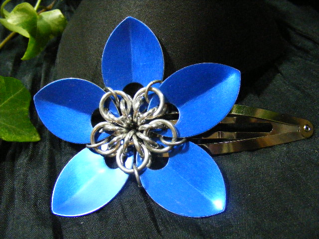 blue large scale hair flower