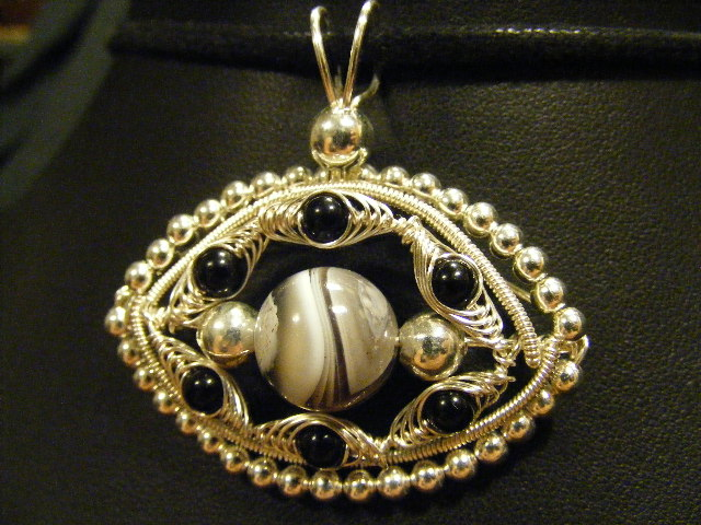 botswana agate and onyx evil eye