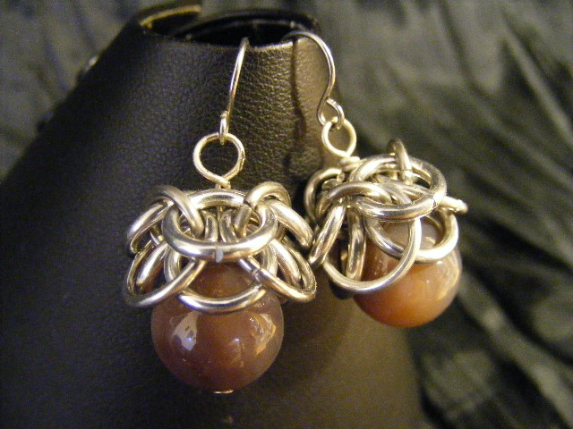 botswana agate helmcap earrings