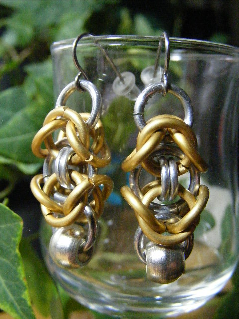 byzantine earrings with silver bead brass