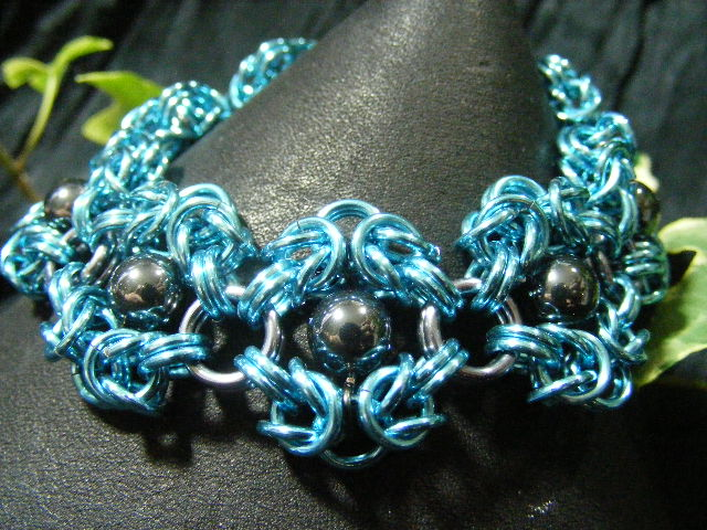 bright blue and hematite romanov bracelet
