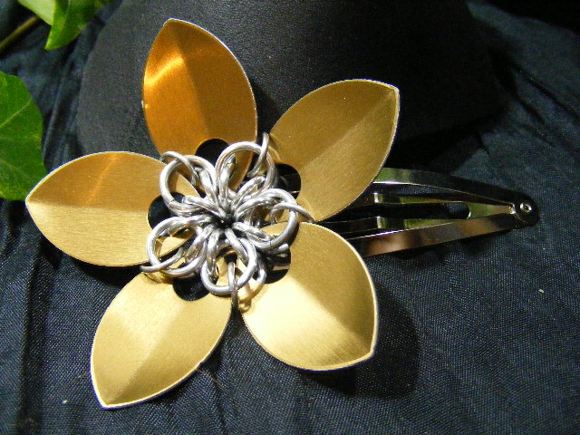bronze large scale hair flower