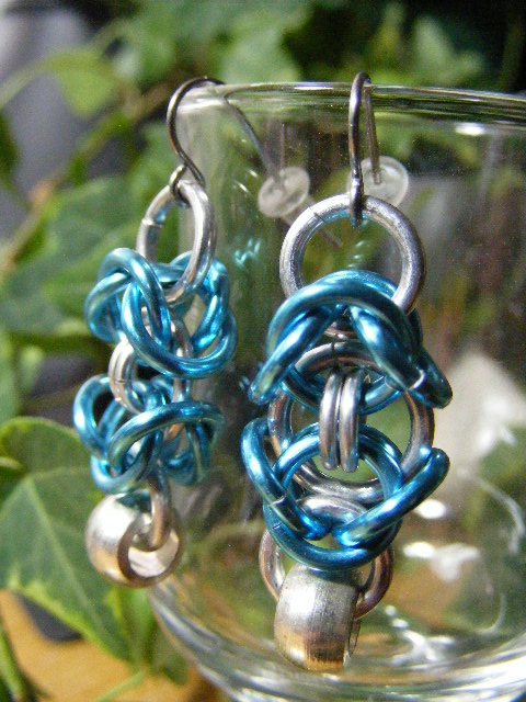 byzantine earrings with silver bead  aqua blue