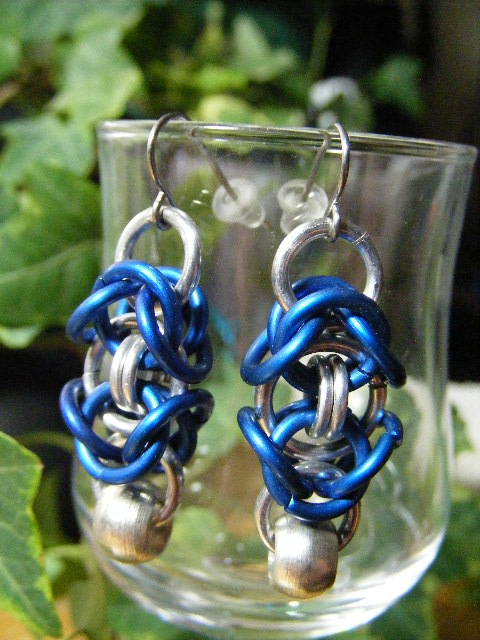 byzantine earrings with silver bead blue
