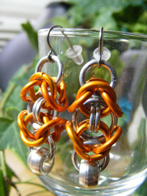 byzantine earrings with silver bead orange