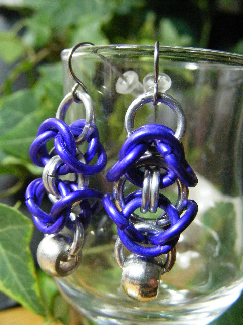 byzantine earrings with silver bead  purple