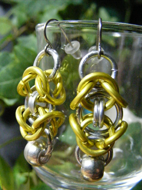 byzantine earrings with silver bead  yellow