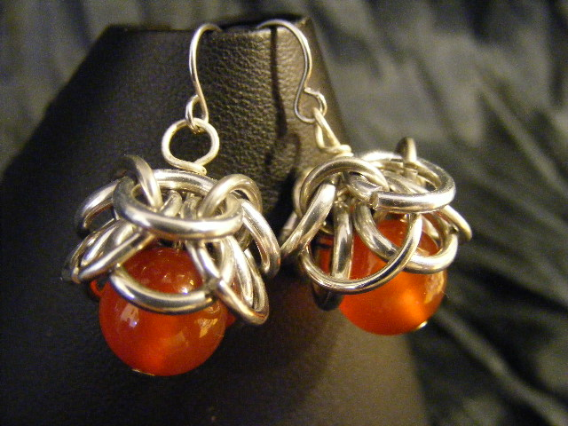 carnelian helmcap earrings