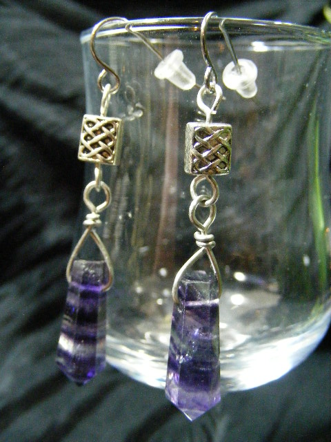 celtic flourite point earrings
