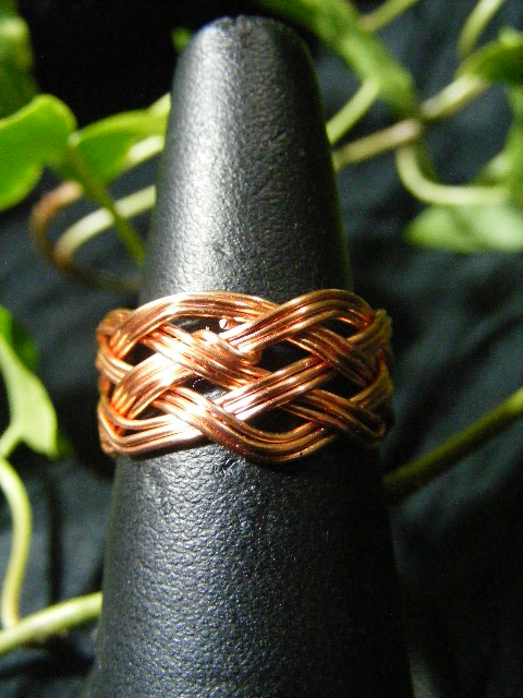 celtic turk's head ring in copper