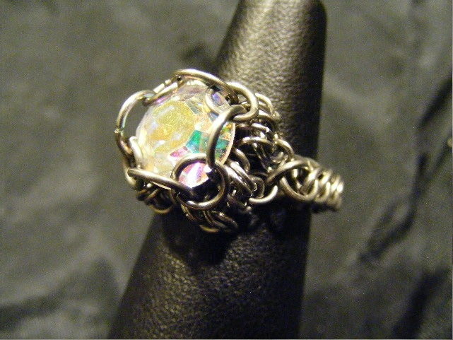 chainmail chaton ab crystal ring