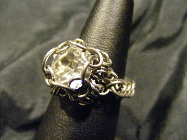 chainmail chaton crystal ring