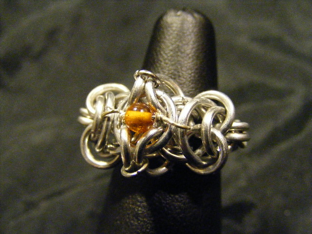 chainmail ring amber aluminum